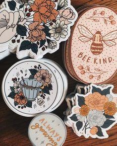 Cool Stickers, Laptop Stickers, Laptop Decal, Sticker Shop, Sticker Design, Handprint Art, Floral Artwork, Bee Art, Aesthetic Stickers