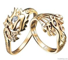 2 Sterling Silver Dragon Phoenix Rings Wedding Band Set Phoenix