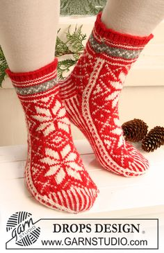 "Knitted DROPS socks with pattern for Christmas in ""Karisma"" ~ DROPS Design"
