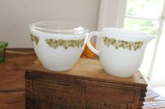 Vintage Pyrex Spring Blossom Green Cream and by SouthernVintageGa, $12.00