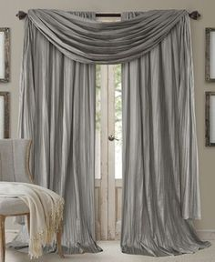 Elrene Athena Rod Pocket Pair of Curtain Panels with Scarf Valance, Set of 3 - Window Treatments - For The Home - Macy's Faux Silk Curtains, Drop Cloth Curtains, Rod Pocket Curtains, Hanging Curtains, Drapes Curtains, White Curtains, Elegant Curtains, Velvet Curtains, Patterned Curtains