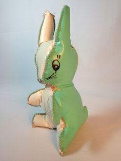 Adorable Vintage Bunny 1950s Oilcloth Stuffed Vinyl Toy
