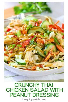This easy to make Crunchy Thai Chicken Salad with Peanut Dressing has a ton of flavor! We used store bought rotisserie chicken to keep it easy! via A super easy main meal salad that uses store bought rotisserie chicken! The dressing packs a ton of flavor! Thai Chicken Salad, Chicken Salad Recipes, Recipes Using Rotisserie Chicken, Thai Chicken Soups, Napa Cabbage Recipes, Chicken Salad Dressing, Thai Chicken Noodles, Thai Noodle Salad, Ramen Noodle