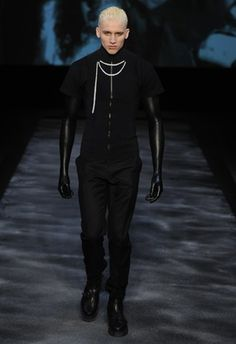 """Leebo Freeman as the """"first face"""" for Nicola Formichetti's debut collection for Thierry Mugler Men's FW11 / Pearl necklace on black shirt - pin it, wear it"""