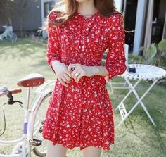 These fall lady fashion long sleeve dress come in very chic designs with flral and bowknot.They accompany just about anything,so feel free to mix and match. Korean Fashion Dress, Korean Dress, Fashion Dresses, Chiffon Skirt, Lace Skirt, Long Sleeve Mini Dress, Lovely Dresses, Floral Design, Lady