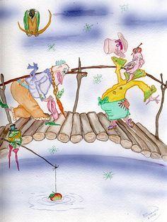 """On a Bridge"" original watercolor illustration from artist Marina Sciascia (USA)"
