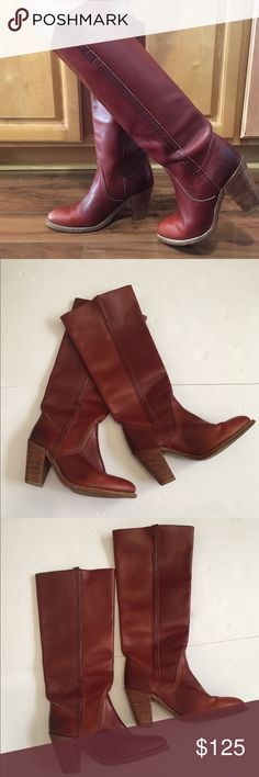 de35a106096 Frye Vintage Women s Western Boots Size Frye Vintage Proudly Made in The  USA 🇺🇸 Model 7110 Women s Leather Tall High Heel Western Boots 👢 size 8  M Cognac ...