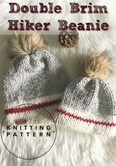 Crochet Beanie Ideas Love this knitting pattern for a Double Brim Hiker Beanie! Would be perfect for outdoor winter family pictures! Poncho Au Crochet, Bonnet Crochet, Crochet Patron, Crochet Beanie, Knit Crochet, Crochet Hats, Knitted Hats Kids, Free Crochet, Circular Knitting Needles