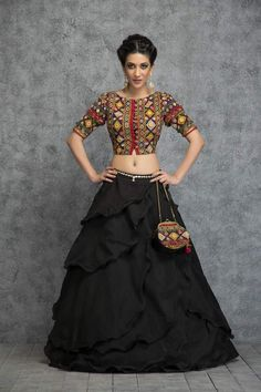 Blouse with ethnic skirt