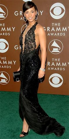 The Top 25 Grammy Looks of All Time - Alicia Keys in Giorgio Armani Prive, 2006 from #InStyle