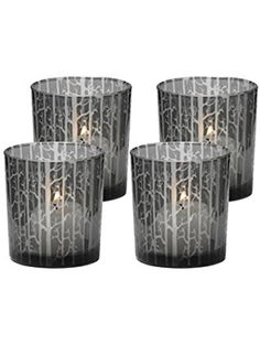 Biedermann & Sons Etched Glass Tree Scene Candle Holder, Box of 4 ❤ Biedermann (Home Decor)
