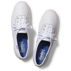White Tennis Shoes - Women's White Canvas Shoes | Keds (£35) ❤ liked on Polyvore featuring shoes, white canvas shoes, tennis shoes, keds, white tennis shoes and sports tennis shoes