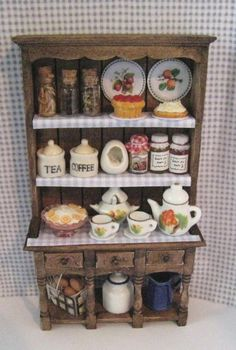 doll house Kitchen hutch dressed, Twelfh scale dollhouse miniature on Etsy, $37.94 AUD