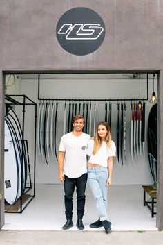 Haydenshapes owners, Hayden and Danielle Cox.   Photographed by Benjamin Heath for his 'Made In LA' series.