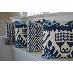 quadrille kazak and zig zag navy pillows from oomph.