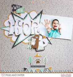Scrapbook Layout with Kaisercraft Hide and Seek Collection  @papierjambon