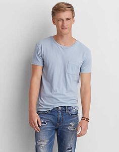A whole new level of soft, for the perfect everyday T-shirt. Aeo, Light Blue, Man Shop, Mens Tops, T Shirt, Summer 2016, Color, Hairstyle, Fashion