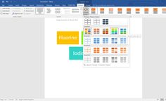 Screenshot of the SmartArt Tools with the Design Tab in the Uppermost Position. Change Colors (e.g. Colorful Range - Accent Colors 4 to 5) is shown for the Basic Block List.  In Word 2016 (Windows 10).  Taken on 2 January 2017.