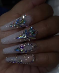 credit to right nail tech/artist.You can find Bling nails and more on our website. credit to right nail tech/artist. Bling Acrylic Nails, Drip Nails, Summer Acrylic Nails, Best Acrylic Nails, Rhinestone Nails, Bling Nails, Swag Nails, Sparkle Nails, Coffin Nails