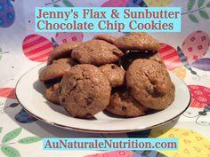 Jenny'sFlax & Sunbutter Chocolate Chip Cookies.(Paleo, gluten free, dairy free) www.aunaturalenutrition.com