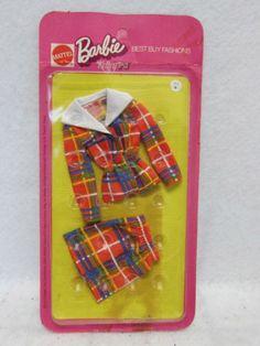 Vintage-Mod-Barbie-1972-Best-Buy-Fashion-7815-Jacket-Skirt-Plaid-Suit-Set-NRFB