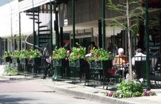 Blooms abound at the Spot of Tea Cafe - Window Box Contest Railing Planters, Balcony Railing, Cafe Window, Linear Park, Sidewalk Cafe, Tea Cafe, Cozy Cafe, Window Boxes, Flower Boxes