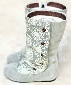 Grey Printed Faux Suede Boots - Infant & Toddler