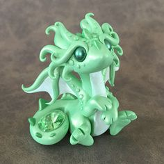 Peridot Gem Dragon Sculpture by Dragons and Beasties
