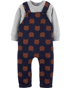 Carter's Baby Boys Cotton T-Shirt & Bear-Print Overalls Set - Navy Baby Outfits, Kids Outfits, Kids Clothes Boys, Unisex Baby Clothes, Babies Clothes, Bear Print, Carters Baby Boys, Coming Home Outfit, Baby Shop