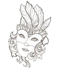 drawings of mardi gras mask Venetian Mask Tattoo, Venetian Masks, Colouring Pages, Adult Coloring Pages, Coloring Books, Art Sketches, Art Drawings, Mask Drawing, Drawing Room