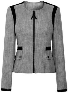 Patterns in sizes The black detailing makes this a classic. Work Jackets, Jackets For Women, Clothes For Women, Blazer Fashion, Fashion Outfits, Womens Fashion, Work Attire, Jacket Style, Blouse Designs
