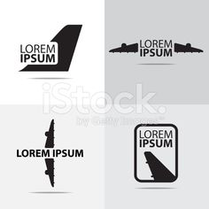 four different air plane logo design royalty-free stock vector art