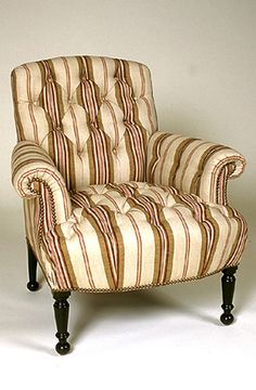 Comfortable Chairs, Loveseats and Ottoman. French Chic with Uniquely Stylish Upholstery Details. To the Trade  by Suzanne B. Allen & Company Design, Athens, GA