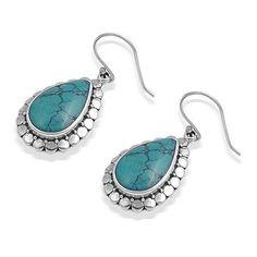 Bling Jewelry 925 Sterling Silver Vintage Style Teardrop Turquoise Hook Earrings