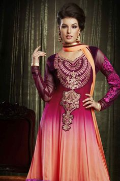 Contemporary Shaded Peach and Maroon Bemberg Georgette Designer Salwar Kameez-JKSK4970