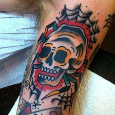 Man With Skull Traditional Spider Inner Arm Bicep Tattoos Skull Tattoos, Hand Tattoos, Web Tattoo, Tattoo Art, Bicep Tattoo Men, Old School Ink, Traditional Style Tattoo, Spider Tattoo, Skull Face