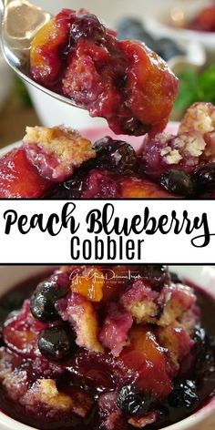 Blueberry Cobbler is packed full of fresh peaches, fresh blueberries and baked to perfection.Peach Blueberry Cobbler is packed full of fresh peaches, fresh blueberries and baked to perfection. Peach Blueberry Cobbler, Blueberry Cobbler Recipes, Peach Cobblers, Fruit Cobbler, Blueberry Desserts, Köstliche Desserts, Peach Cobbler Crumble, Healthy Peach Cobbler, Peach Fruit