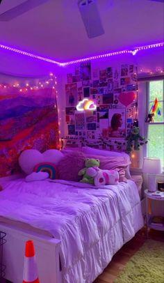 Neon Bedroom, Indie Bedroom, Indie Room Decor, Room Design Bedroom, Aesthetic Room Decor, Room Ideas Bedroom, Cute Bedroom Decor, Girls Bedroom, Bedroom Inspo