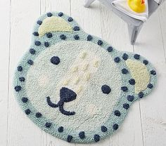 Eco Chic Bear Bath Mat, Aqua