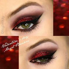 Sugar Pill red and glitter, Brown bare minerals, black eyeliner from Lime Crime