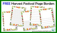 FREE Harvest Festival teaching resources to download for the Foundation Phase - Early Years -  KS1 - kindergarten Primary Resources, Teaching Resources, Teaching Ideas, Page Borders, Role Play, Autumn, Fall, Harvest, Kindergarten