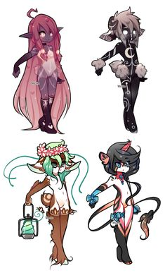 Muchi and Mewmew concepts...really love this cartoony humanish monster creature style.