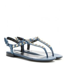 Balenciaga Classic Screw Studded Leather Sandals (3 555 SEK) ❤ liked on Polyvore featuring shoes, sandals, blue, leather sandals, balenciaga sandals, blue leather sandals, blue sandals and balenciaga