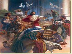 """*We zien ook dat Jezus zich ergerde aan mensen die zich oneerbiedig gedroegen tegenover God. Zo zien we dat Jezus bij een voorval in de tempel, KWAAD wordt! Johannes 2: 13-16:"""" Het was kort voor het Joodse Pasen. Jezus begaf zich naar Jeruzalem  en zag daar hoe men in de tempel runderen, schapen en duiven stond te verkopen en geld zat te wisselen.  Hij knoopte touwen aaneen tot een zweep(!) en joeg ze allemaal de tempel uit, schapen en runderen erbij. De tafels van de wisselaars gooide Hij…"""