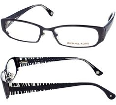 Michael Kors women's optical frames - Brown Metal Frames with Zebra Plastic Temples (52-17-135, MK498/210)