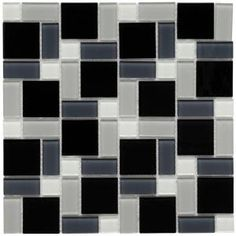 Merola Tile Spectrum Block Black and White 12 in. x 12 in. Mosaic Glass Wall Tile-GDXSBBW at The Home Depot