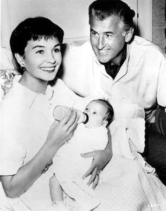 Jean Simmons and Stewart Granger with their daughter Tracy....she had two daughters, Tracy Granger and Kate Brooks, one by each marriage – their names bearing witness to Simmons' friendship with Spencer Tracy and Katharine Hepburn.