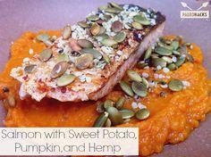 Salmon with Sweet Potato, Pumpkin and Hemp | LOVED!  Salmon with sweet potatoes is delicious.