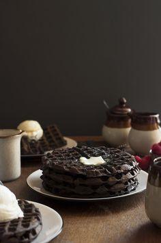 Dark Chocolate Zucchini Cake Waffles - The Candid Appetite
