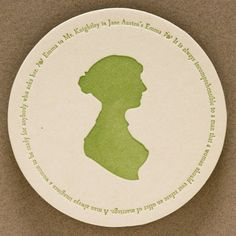 Jane Austen coasters with 4 quotes (letterpress printed), set of 8, Ready to Ship. $12.00, via Etsy.